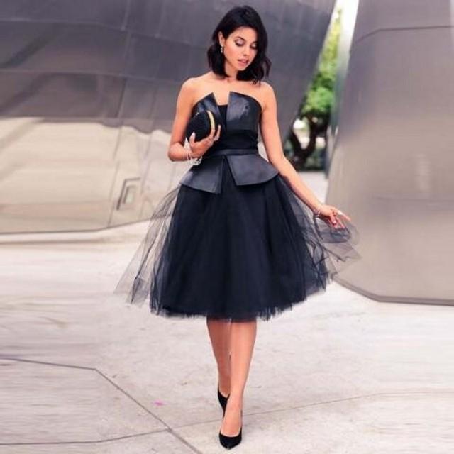 3dc3f4a6c8 Black Women Tulle Skirts Short 5 Layers Tulle Custom Made Faldas Knee  Length Tutu Skirt Womens