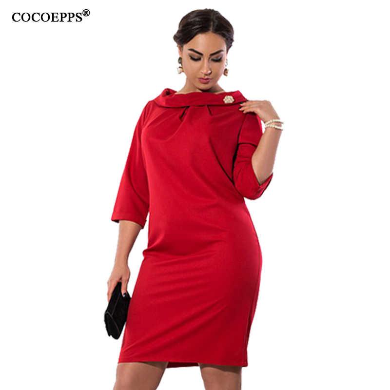 7d58b4ed43d Зима 6XL Плюс Размер Сексуальные Платья женские элегантные с коротким  рукавом большие размеры платье 2018 осень