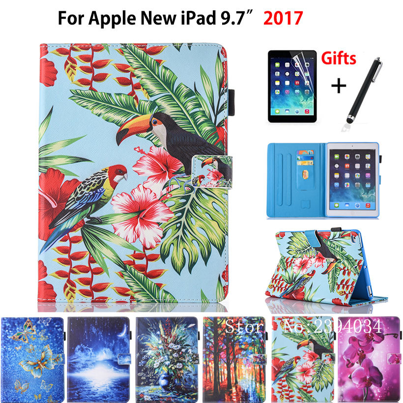 Fashion Cartoon Cover For Apple New iPad 9.7 2017 A1822 Smart Case Cover Funda Tablet Silicone PU Leather Stand Shell+Film+Pen case cover for goclever quantum 1010 lite 10 1 inch universal pu leather for new ipad 9 7 2017 cases center film pen kf492a