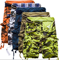 Новый 2016 brand мужская повседневная камуфляж насыпных грузов шорты мужчин большой размер multi-карман военные шорты комбинезоны 5 цветов
