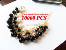 hot New type white and black pearls 3R rope chain bracelet plated golden Fashion trendy pearl water drop pendant bracelet