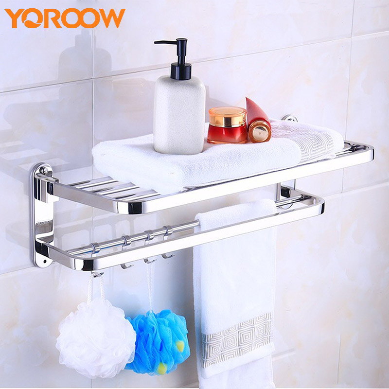 Bathroom 304 Bath Towel Rack Bathroom Stainless Steel Towel Rack Storage Rack Hardware Shelves For Wall Mounted Shower SG0030 viborg deluxe sus304 stainless steel foldable wall mounted bathroom towel rack shelf towel holder storage