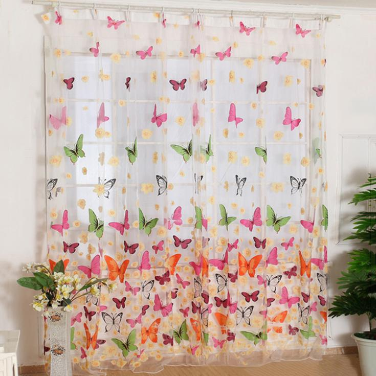 Fashion New Hot Use Butterfly Print Sheer Curtain Panel Window Balcony Tulle Room Divider Colorful W1 S2