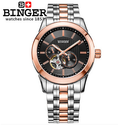 Cool men full steel 24 Hours watch fashion Automatic men sports watches top luxury brand Binger designer wristwatch male relogio luxury brand watches for men binger dress watch casual crystal automatic wrist steel wristwatch relogio feminino reloj