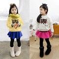 2016 spring autumn fashion cartoon kids girls clothing set toddler baby children pleat skirt pants pullover hoodies clothes set