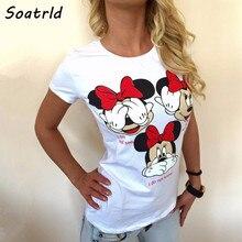 Женская брендовая одежда летняя футболка Женские повседневные топы с забавной мышкой футболки с коротким рукавом и круглым вырезом Harajuku женская футболка
