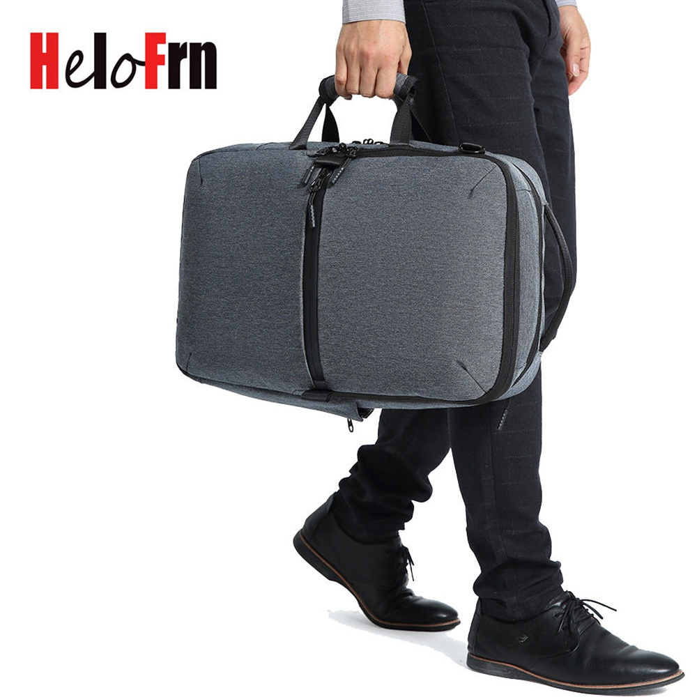 HeloFrn Business Men Backpack For Laptop 15.6 Travel Canvas Male Black Trip Crossbody Bag White collar Mochila