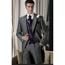 2017 Fashion Gray Men Wedding Suit Tailcoat Jacket 2017 Best 3 pieces grey Man Prom Groom mens suits Tuxedo (jackets+Pants+Vest)