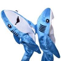 Mavi Köpekbalığı Kostüm Yetişkin çocuk Unisex Hayvan Cosplay parti Maskot Tulum çocuklar için Komik fantezi elbise Cadılar Bayramı kostümleri