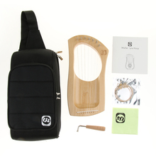 Mahogany Wood Harp 7-String with Tuning Wrench Strings and Bag Musical Stringed Instrument Parts for Band Performance