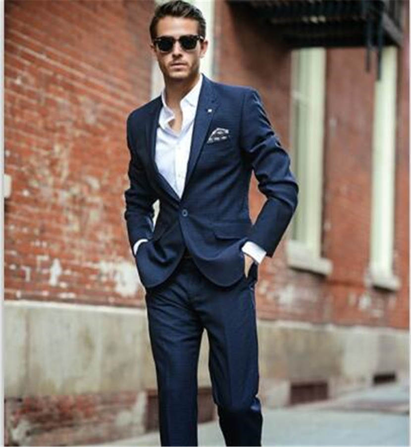 Latest Coat Pant Designs Navy Blue Formal Wedding Suit for Men Custom Made Groom Groomsman Fashion Slim Fit 2 Pieces Masculino
