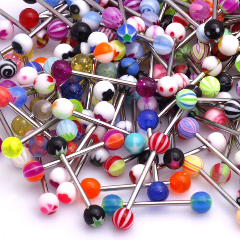 30PC 6mm ball Tongue Ring Body Piercing Jewelry 14G barbell