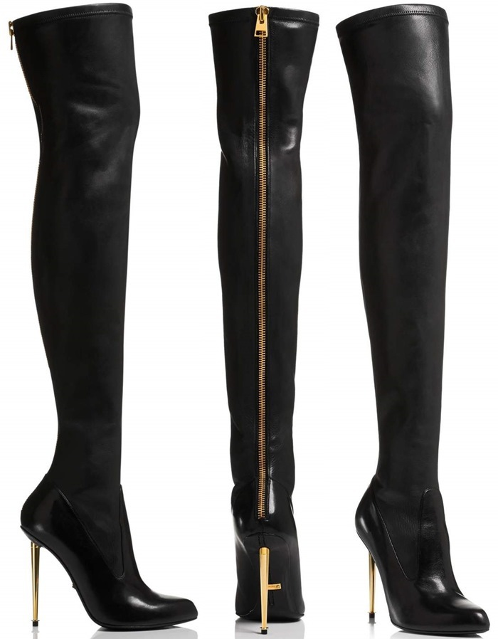 New Trend Leather Black Boots Gold Metal Stiletto Heel Back Zipper ...