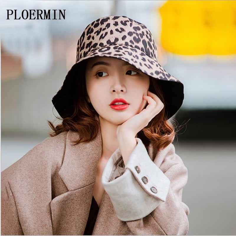Kopfbedeckungen Für Damen Dynamisch Ploermin Faltbare Baumwolle Leopard Print Frauen Eimer Hut Doppelseitige Tragbare Fischer Hüte Frühling Sommer Sonnenschutz Kappen Eimer-hüte