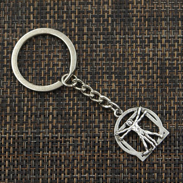 De moda de 30mm anillo de llave de Metal cadena de la joyería Chapado en plata antigua Da Vinci figura humana 26x22mm colgante