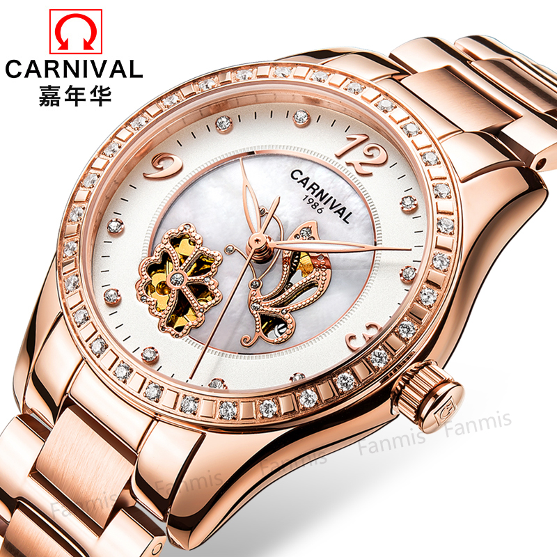 Carnival Hollow Mechanical Watches Women Imported Movement  Shell Dial Diamond Waterproof Stainless Steel Fashion Lady Clock