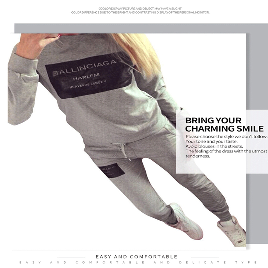 Hot Square Frame Letter Printed Sports Suit Round Neck Long-sleeved Sweatshirts Women's Sets High Quality Size S M L XL
