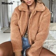 Missufe Plush Warm Women Coats Solid Winter Casual Turn Down Collar Female Autumn Jackets 2018 Streetwear Coat