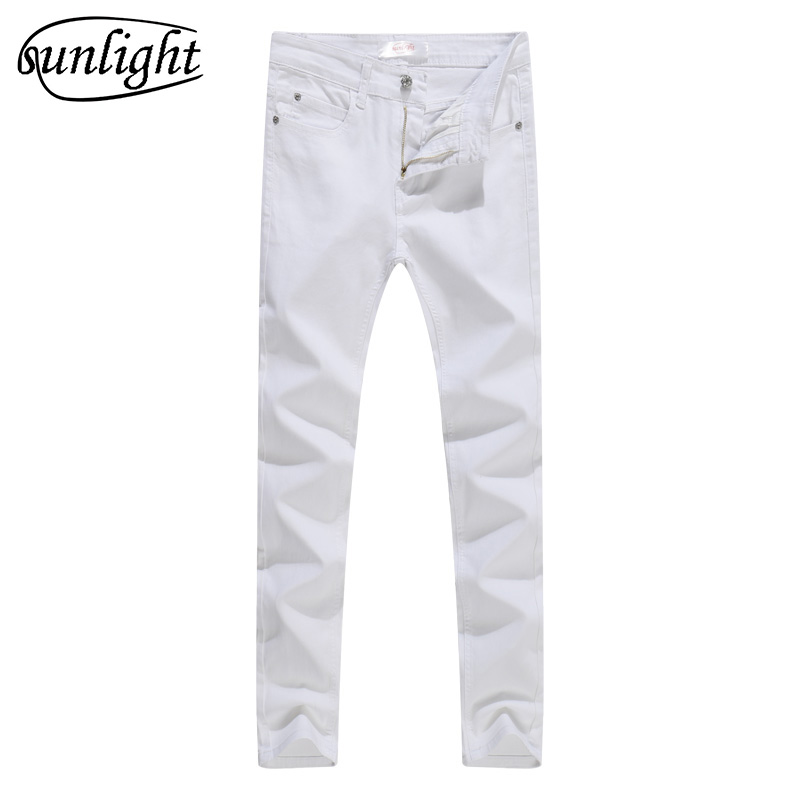 NEW 2019 indoor Business Man white   Jeans   Cotton Thin Students Straight Leisure Stretch Skinny Pants Denim Overalls Men