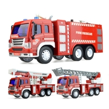 GEEK KING 1:16 Diecast Pull Back Fire truck toy car inertia engineering fire music Large child boy model
