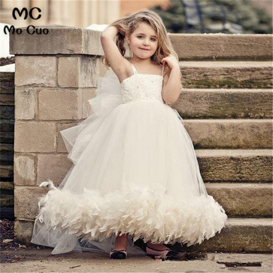 2018 Lovely Feather   Flower     Girl     Dress   for Weddings with Lace Spaghetti Straps Tulle First Communion   Dresses   for   Girls