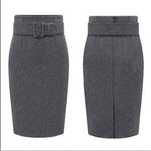 Image 4 - 새로운 패션 가을 겨울 스타일 2020 코 튼 플러스 크기 높은 허리 Saias Femininas 캐주얼 미디 연필 스커트 여성 스커트 여성 드