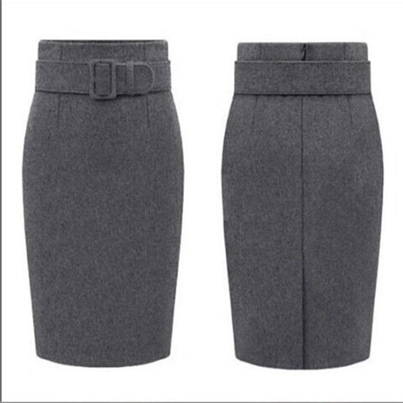 Image 4 - New Fashion Autumn Winter Style 2017 Cotton Plus Size High Waist Saias Femininas Casual Midi Pencil Skirt Women Skirts Female De-in Skirts from Women's Clothing