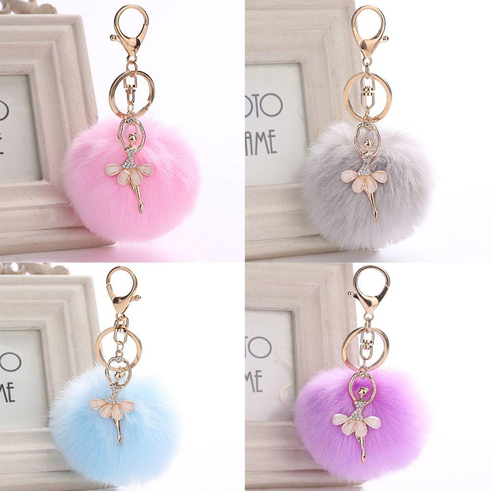 Fashion Women Bag Accessories Angel Fluffy Handbag Pendant Ballet Dancing Girl Faux Rabbit Fur Key Ring Handbags Decoration