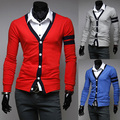 Polo Promotion Cardigans V-neck New Arrival 2014 Male Color Block Patchwork Long-sleeve Slim All-match Thin Cardigan Sweater