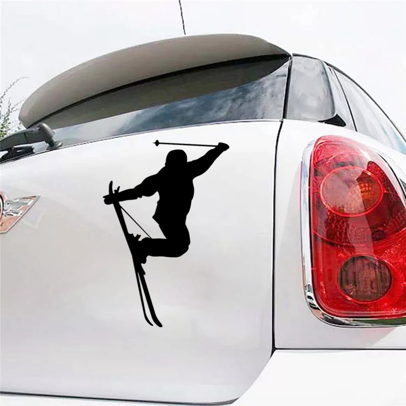 CS-908#15*21cm Skier funny car sticker vinyl decal silver/black for auto stickers styling decoration