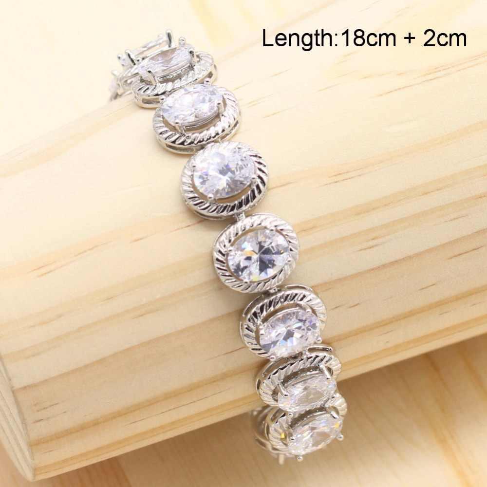 Серебро 925 пробы Женские Ювелирные наборы белый кристалл круглые браслеты цепочки ожерелье кулон женские серьги винтажные кольца наборы подарок