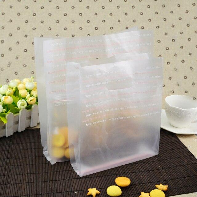 200pcs Baking Food Ng Bag Take Away Plastic Dessert Letter Pattern
