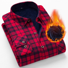 AOLIWEN warm Plaid Long sleeve men's shirt Cotton wintter casual sizeL-5XL comfort