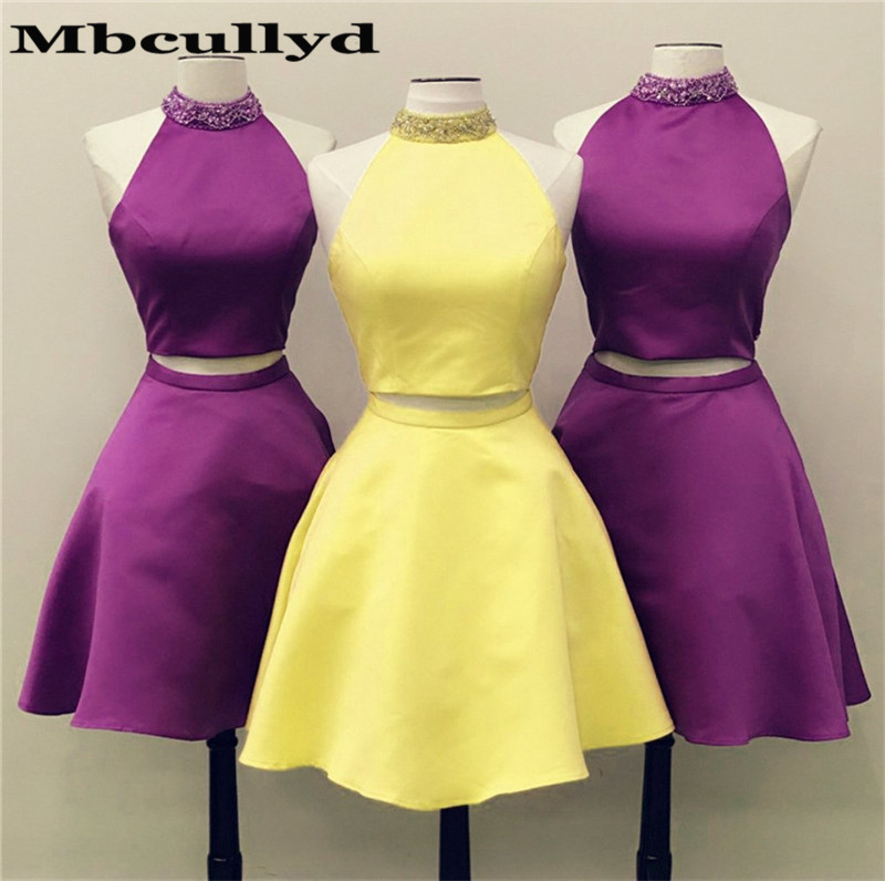 Mbcullyd 2020 Two Piece Prom Dresses With Beading Neck Yellow Satin Under 100 Sexy Knee Lenght Cocktail Dress Party For Women