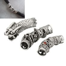 3Pcs/Lot Tibetan Silver Dragon Hair Braid Bead Braiding Dread Dreadlock Tube Beads Ring Cilp Cuff For Braiding Hair Extension