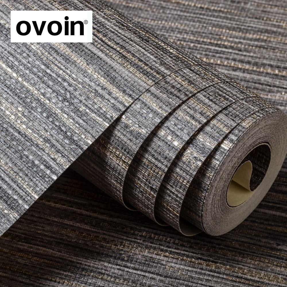 Grasscloth Gray Textured Wallpaper Horizontal Striped Wall Paper Roll For Bedroom Background Light grey/ Dark grey