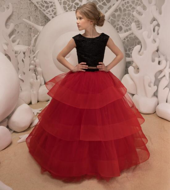 Royal Black And Red Flower Girl Dress Keyhole Back Two Pieces