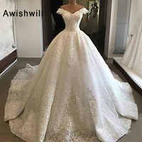 Nach Maß Prinzessin Ballkleid Hochzeit Kleid Spitze V-ausschnitt Weg Von Der Schulter Elegante Arabisch Perlen Hochzeit Kleider vestido de noiva