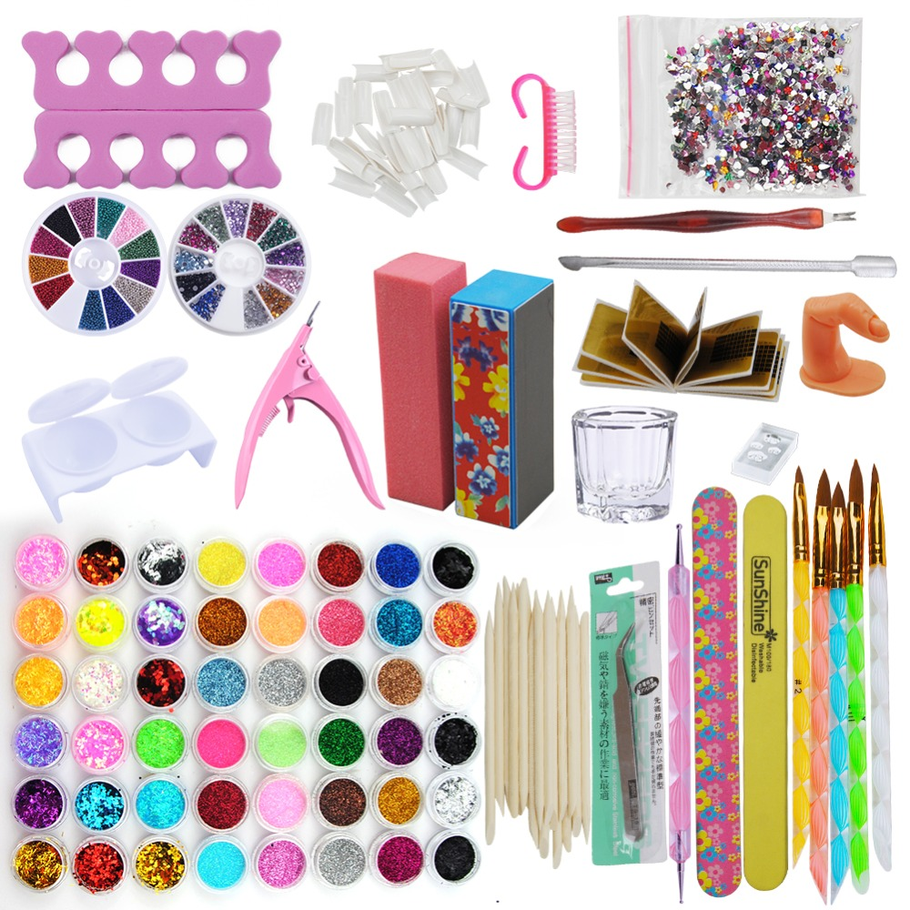 48 Glitter Powder Manicure Nail Kit Rhinestones 3D Design Acrylic Powder Gel Polish Nail Tips Gems Decoration DIY Nail Tools Kit 1 box about 12000pcs ss6 2mm 12color acrylic non hot fix rhinestones diy 3d nail art glitter decoration manicure nail tips