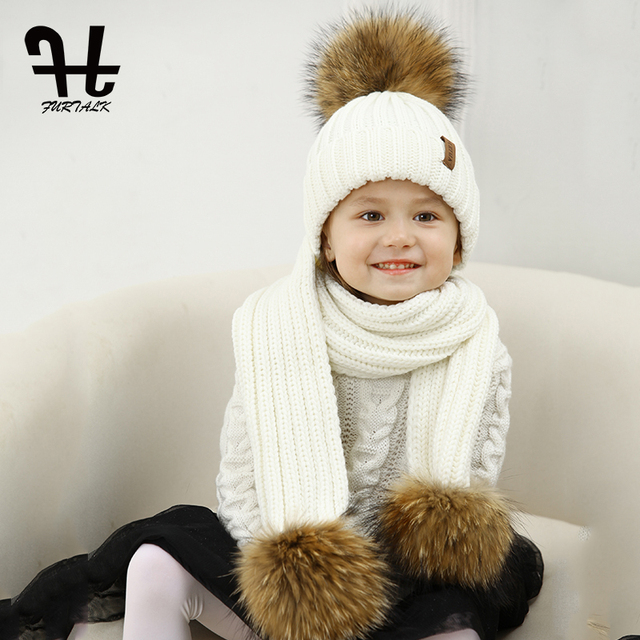 ce73eb69120a5 FURTALK Kids Ages 2-10 Winter Warm Chunky Thick Knit Beanie Hats and Scarves  Real Fur Pom Pom Hat Scarf Set for Child