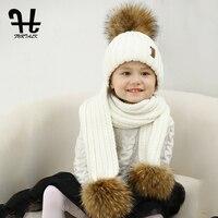 FURTALK Kids Leeftijden 2-10 Winter Warm Chunky Dikke Knit Beanie Hoeden en Sjaals Real Bont Pom Pom Hoed Sjaal voor Kind