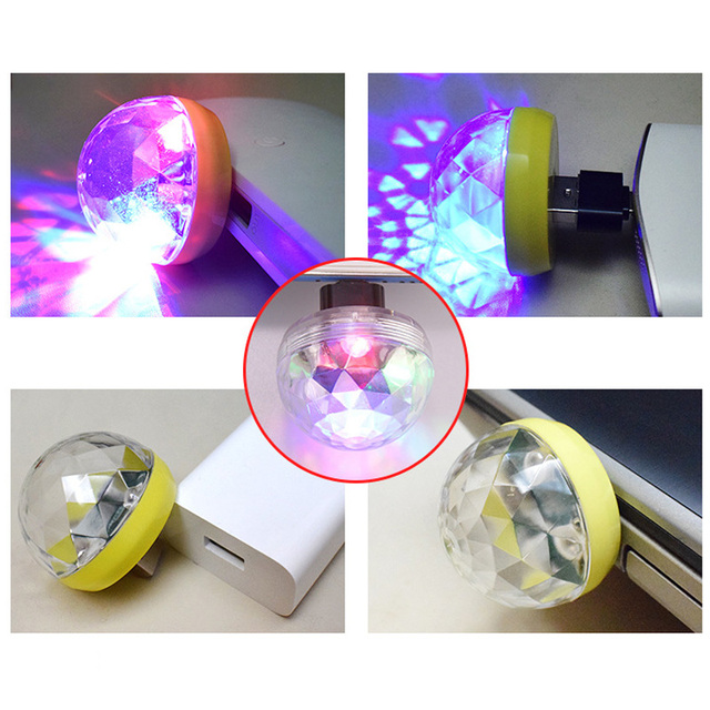Mobile Phone Light Ball Sound Control Crystal LED Mini Disco Portable Party Lamp Stage Bar Voice Activated USB 2