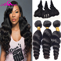 7A Brazilian Virgin Hair Loose Wave With Frontal Closure 3 bundles Brazilian Loose Wave With Ear To Ear Lace Frontal Closure