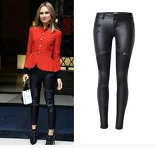 Fashion womens zippers PU leather pencil pants Chic Plus size XXXL Moto&Biker