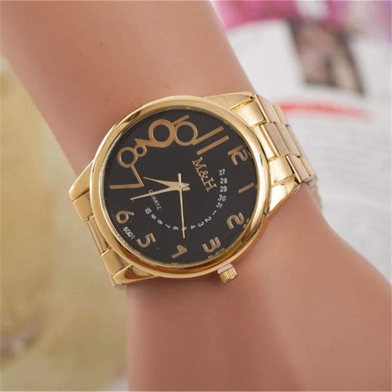 MINHIN Gold Plated European Quartz Watches Hot Sale Personalized Stainless Steel Band Design Watches Women/Men Watchband