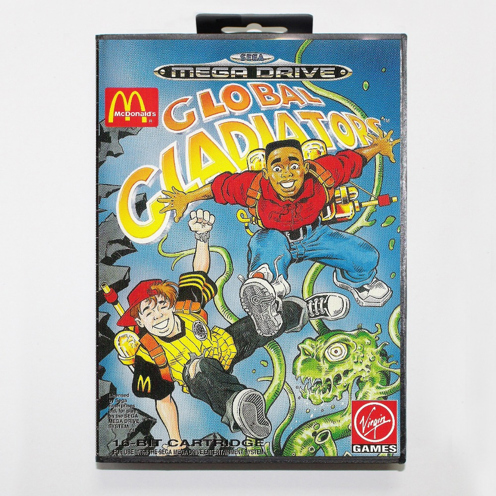 16 bit Sega MD game Cartridge with Retail box – Global Gladiators game card for Megadrive Genesis system