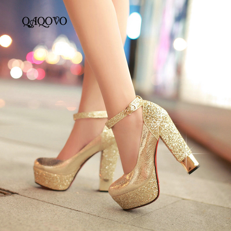 Women s Fashion Gold Silver Sequined High Heels Sexy Platform Ankle Strap High Quality Pumps Party