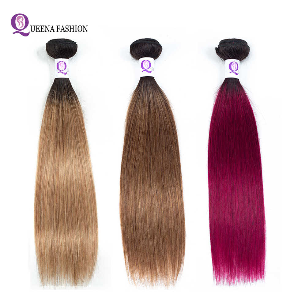 Cambodian Hair Bundles Ombre Straight Hair Human Bundles 1b/27 1b/30 1b/burgundy Two Tone Color Non Remy Can Buy 3 or 4 Bundles