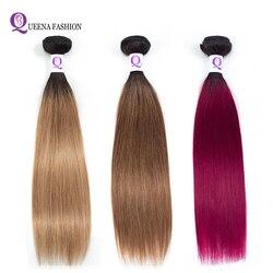 Kambodżańskie wiązki włosów Ombre proste włosy ludzkie wiązki 1b/27 1b/30 1b/bordowy dwukolorowy kolor Non Remy może kupić 3 lub 4 zestawy