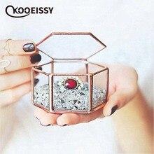De geometría contenedor Retro Decoración de la boda anillo de caja de maquillaje organizador de la joyería de almacenamiento caja de la flor eterna cubierta de vidrio